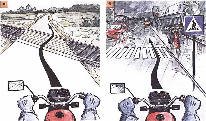 Действия водителя в сложных дорожных условиях. Учебник водителя мотоцикла.