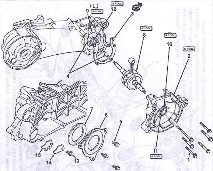 Скутер Honda Lead.  Инструкция по устройству, техническому обслуживанию и ремонту.  Разборка и сборка двигателя.