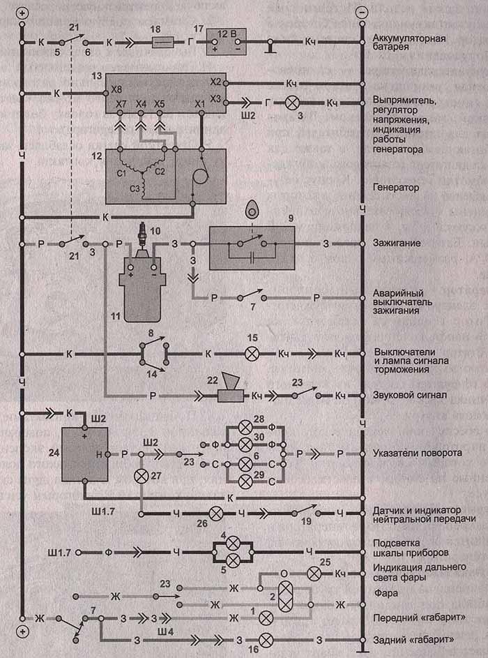 Схема электрооборудования мотоциклов ИЖ 6.113 (Юпитер-5.