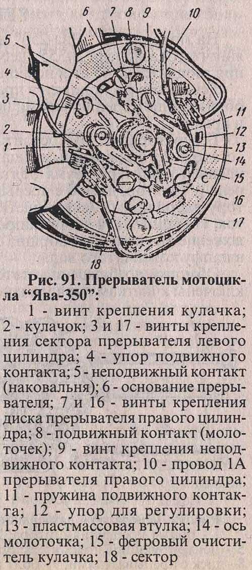 "Прерыватель мотоцикла  ""Ява-350 "": 1 - винт крепления кулачка; 2 - кулачок; 3 и 17 - винты крепления сектора..."