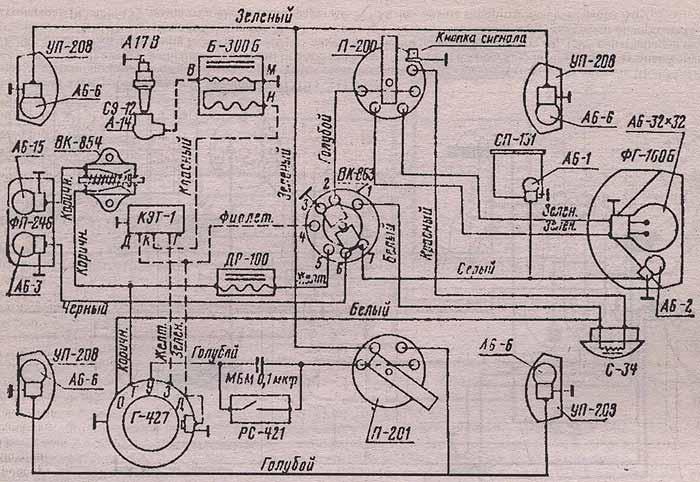 Рис. 3.4. Схема электрооборудования мотоцикла 3.115 (с электронной системой зажигания). Мотоцикл Минск, эксплуатация и ремонт.