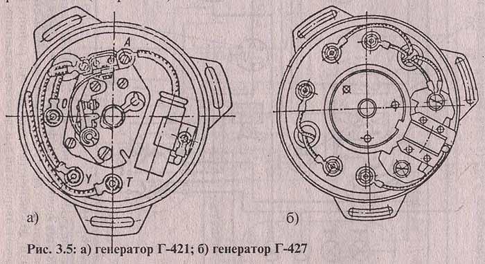 Рис. 3.5: а) генератор Г-421; б) генератор Г-427. Мотоцикл Минск, эксплуатация и ремонт.