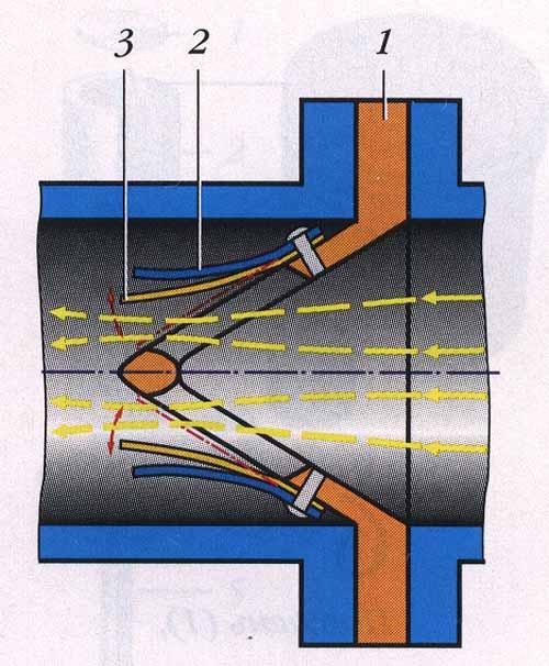 Схема лепесткового клапана: 1