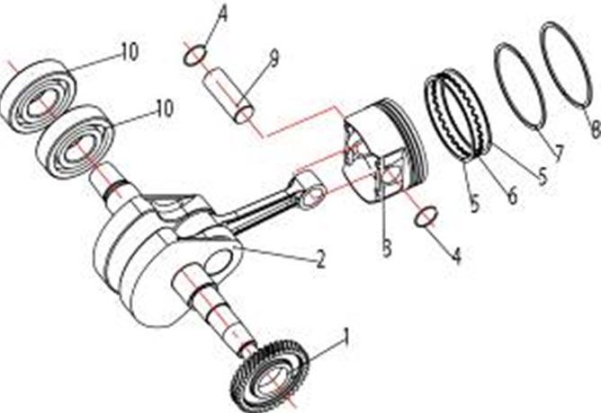 ATV Stels 500 GT, K каталог запчастей двигателя. Коленвал и поршень.