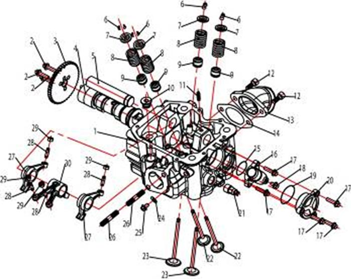 ATV Stels 500 GT, K каталог запчастей двигателя. Головка блока цилиндра.