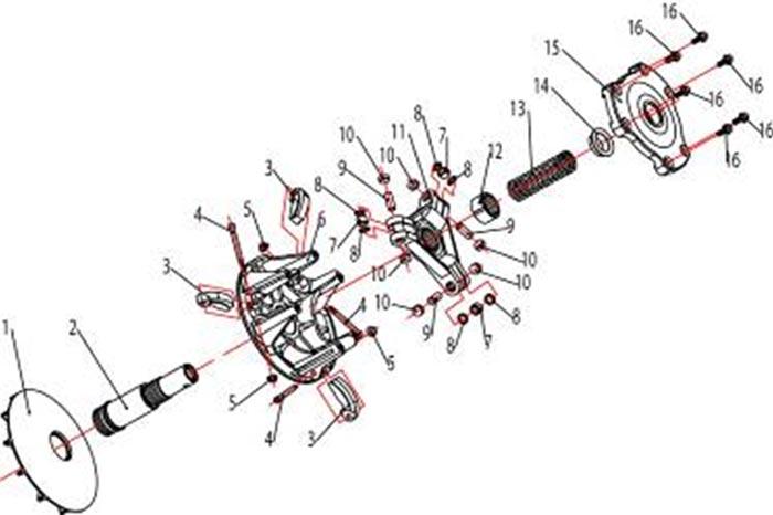 ATV Stels 500 GT, K каталог запчастей двигателя. Шкив в сборе.