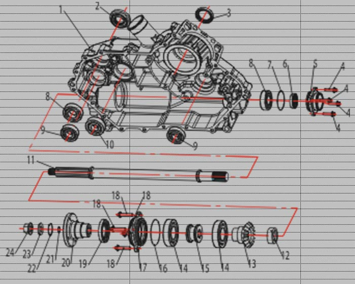 ATV Stels 500 GT, K каталог запчастей двигателя. Левая половина картера двигателя в сборе.
