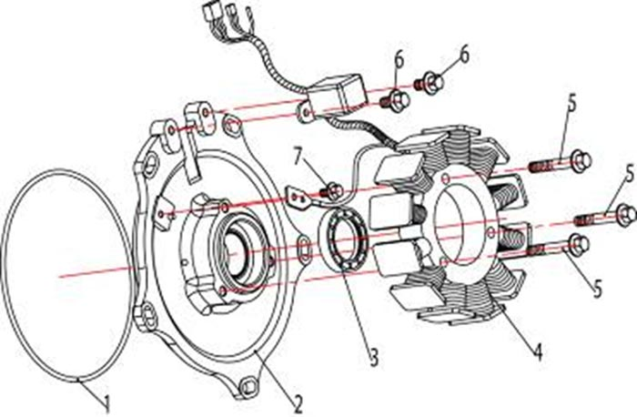 ATV Stels 500 GT, K каталог запчастей двигателя. Магнето в сборе.
