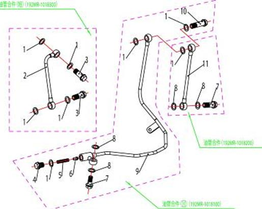 ATV Stels 500 GT, K каталог запчастей двигателя. Трубки системы смазки.