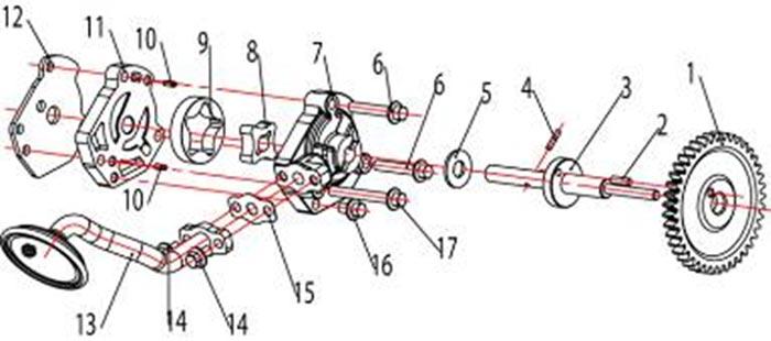 ATV Stels 500 GT, K каталог запчастей двигателя. Маслянный насос в сборе.