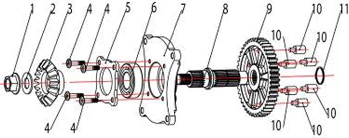 ATV Stels 500 GT, K каталог запчастей двигателя. Вторичный вал в сборе.