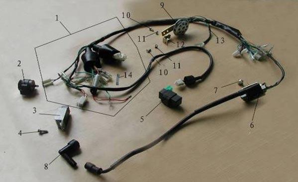 Мопед Orion 50 каталог деталей.Электрика и проводка мопеда.