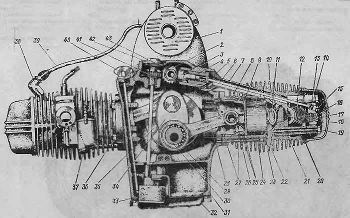 Двигатель (поперечный разрез):
