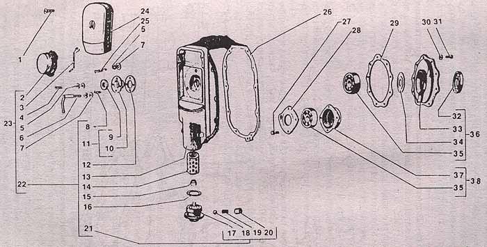 """Детали картера двигателя мотоцикла  """"Урал """" М66 и М67-36: 1 - винт М6х22 крепления крышки (2 шт.); 2 - прерыватель в..."""